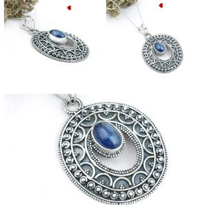 Genuine Lapis Lazuli Silver Oval Fashion Jewelry